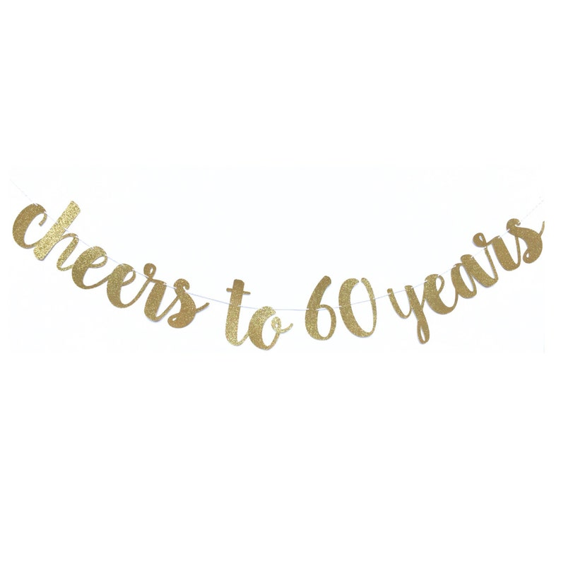 Cheers to 60 Years Banner  60th Birthday Decoration  60 and image 0
