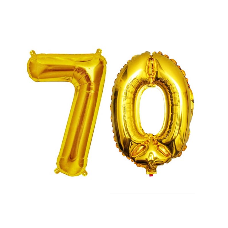 70 Balloons 70th Birthday Number