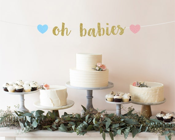 Twin Baby Shower Decorations Oh Babies Baby Shower Banner Etsy