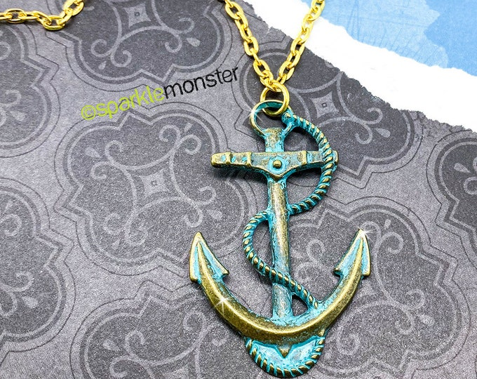 Rusty Blue Anchor Necklace