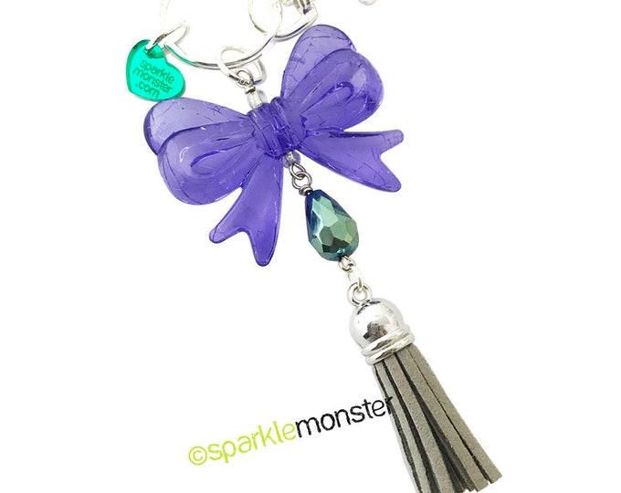 SALE Lovely Purple Bow and Tassel large silver keychain