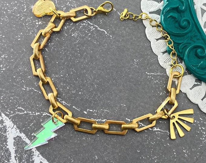 Vintage Links Bracelet with iridescent lightning bolt