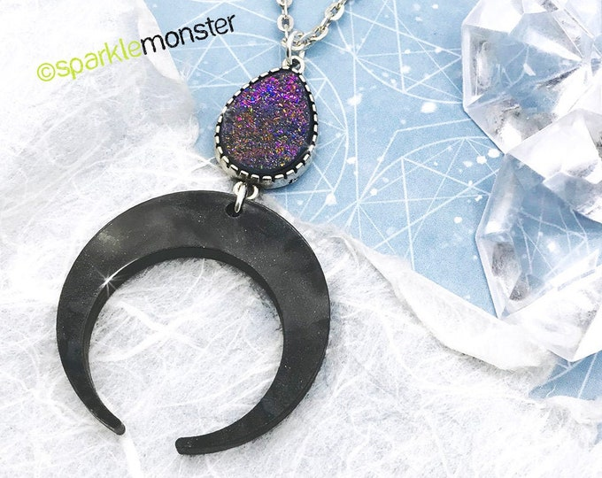 Witch Moon -black pearl crescent necklace, purple AB faux druzy, laser cut acrylic, bohemian, gothic