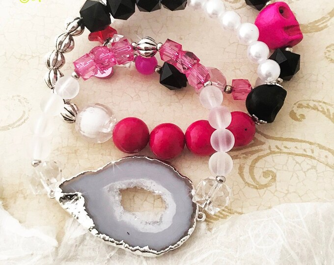 3 SET Geode Slice and Skull bracelet stack