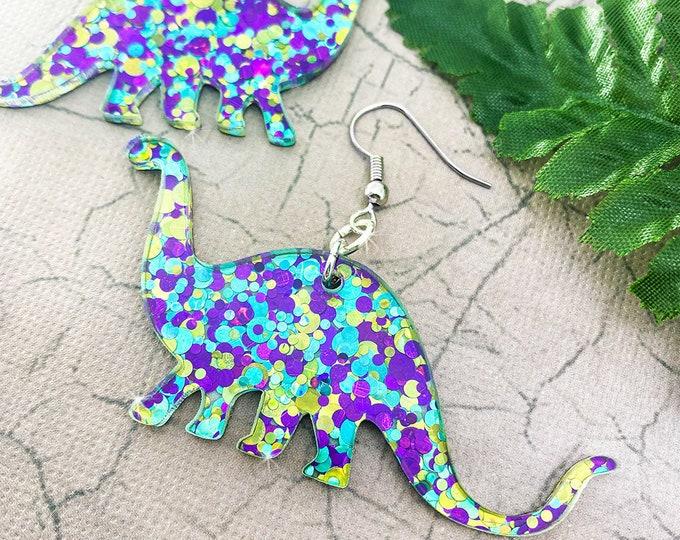 Confetti Glitter Brontosaurus Dangle Earrings
