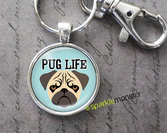 Pug Life - 25mm glass tile keychain, silver, large swivel lobster claw, fawn pug, grumpy