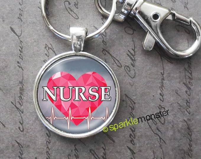 Nurse with Heartbeat keychain, 25mm glass tile image, silver, large swivel lobster claw, pink heart, gift, cardiology, gray
