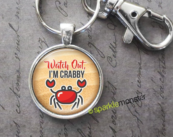 I'm Crabby - 25mm glass tile keychain, silver, large swivel lobster claw, beachy