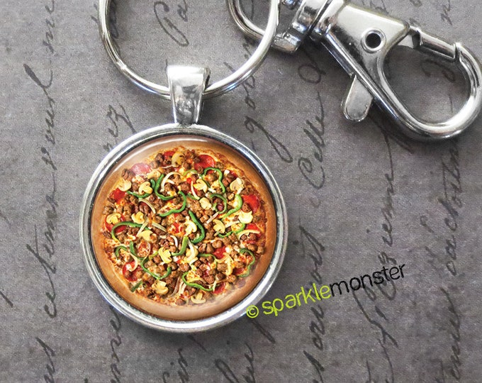 Pizza keychain, 25mm glass tile image, silver, large swivel lobster claw, food, yum