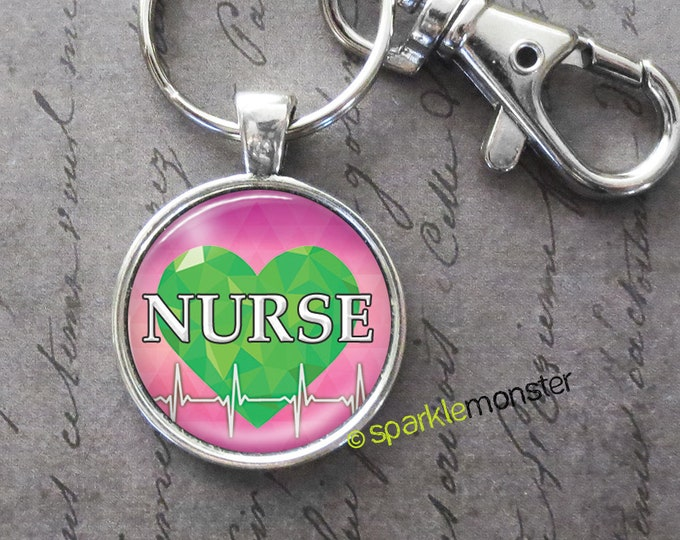 Nurse with Heartbeat keychain, 25mm glass tile image, silver, large swivel lobster claw, green heart, gift, cardiology, pink