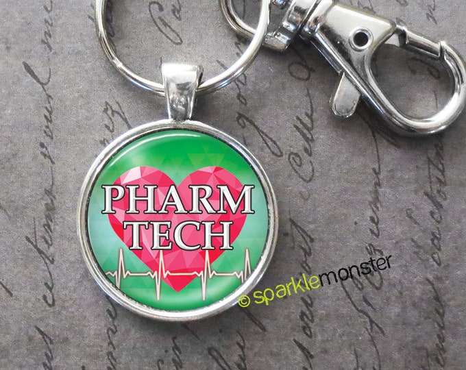 Pharm Tech keychain, 25mm glass tile image, silver, large swivel lobster claw, pink heart, heartbeat, pharmacy