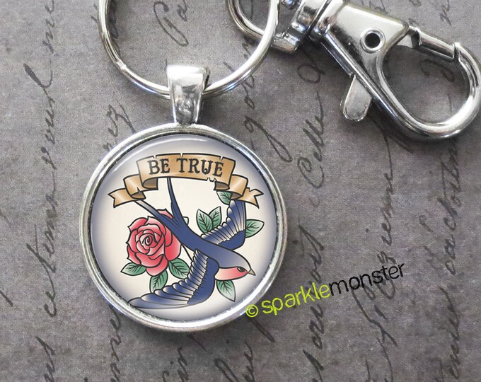 Tattoo Sparrow and Rose keychain, 25mm glass tile image, silver, large swivel lobster claw, pinup girl, be true