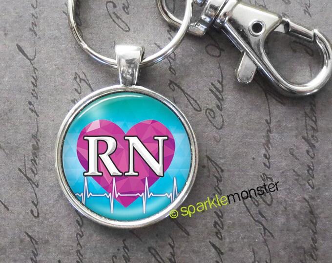 RN keychain, 25mm glass tile image, silver, large swivel lobster claw, purple heart, heartbeat, nurse