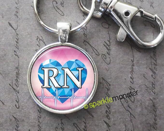 RN keychain, 25mm glass tile image, silver, large swivel lobster claw, blue heart, heartbeat, nurse