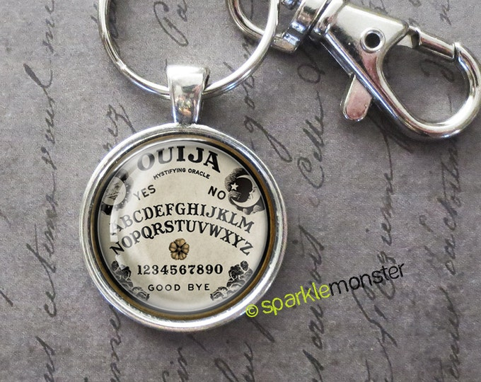 Mystical Ouija - 25mm glass tile keychain, silver, large swivel lobster claw, gothic