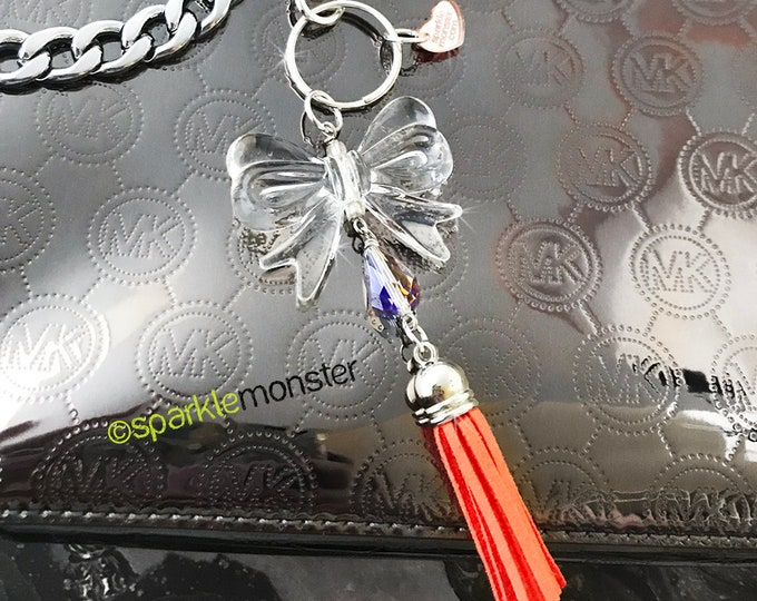 SALE Sweet Clear Bow and Tassel large silver keychain