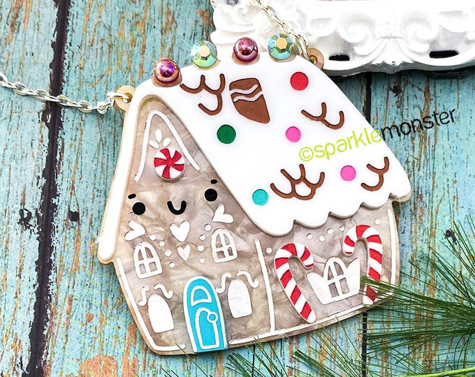 LUCKY LAST! Large Gingerbread House Necklace