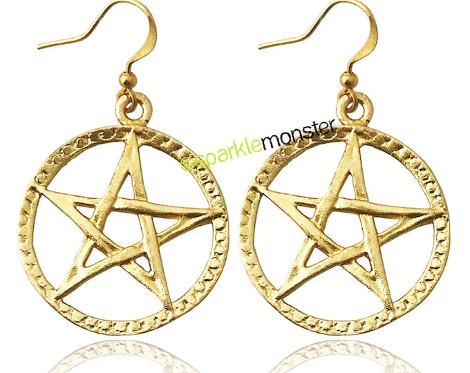 Pentacle dangle earrings, textured gold charms, witchy, pagan