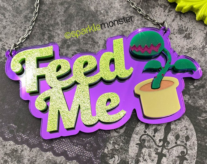 Feed Me - laser cut acrylic necklace, venus fly trap, mirror, green glitter, purple mirror, horror, kitsch, Audrey