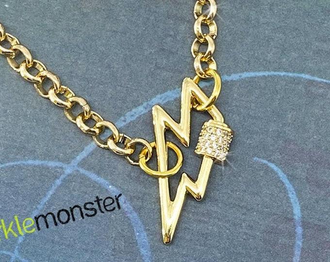 Flash of Lightning - long gold toned layering necklace, rhinestone clasp, lightning bolt charm, bohemian, hippie, rocker, alt fashion