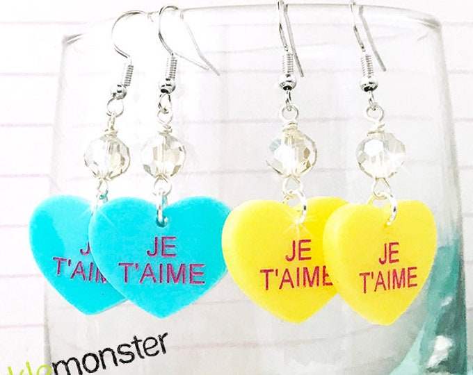 JE T'AIME - conversation heart dangle earrings with crystal, turquoise, yellow, hand painted, laser cut acrylic, Valentine Day, candy, funny