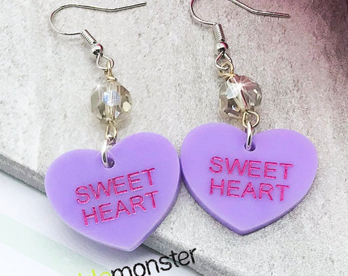 SWEET HEART - conversation heart dangle earrings with crystals, lavender, hand painted, laser cut acrylic, Valentines Day, candy