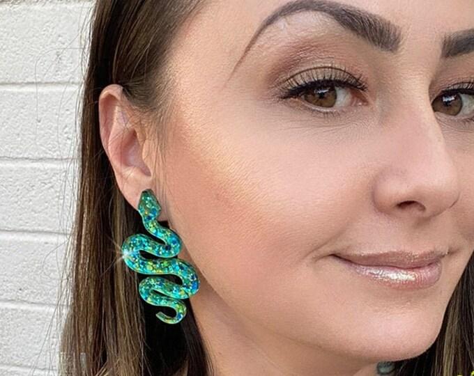 Eden Earrings - snake stud earrings, blue and green