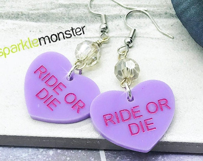 SALE - RIDE or DIE heart dangle earrings