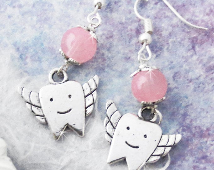 Tooth Fairies - dangle earrings, silver alloy charms, light pink stone beads, dentist, dental tech