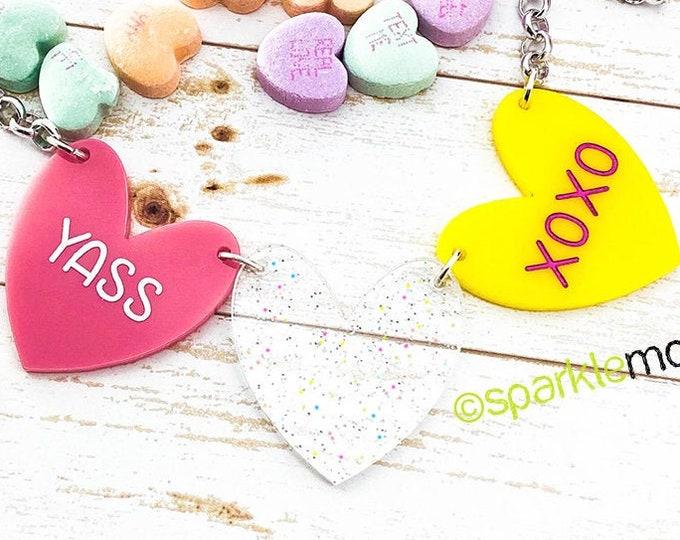YASS XOXO - 1 of 1 necklace, pink, holo glitter, yellow hearts