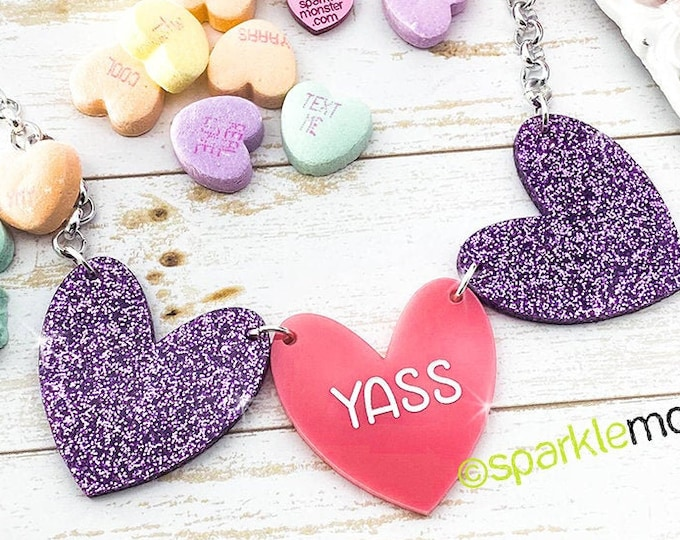 YASS - 1 of 1 necklace, purple glitter, pink  hearts