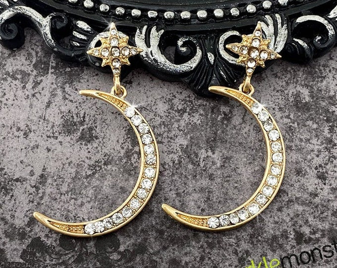 Romantic Nights - rhinestone moon earrings, crescent moon, charms, goth glamour, gold, clear crystals, vintage style
