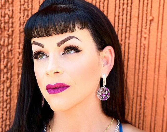 Confetti Party - purple hearts dangle earrings with post backs