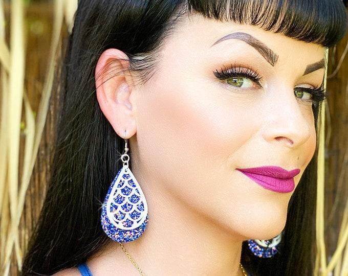 Mermaid Drops - faux leather and laser cut acrylic earrings, blue glitter, teardrop charms, statement earrings