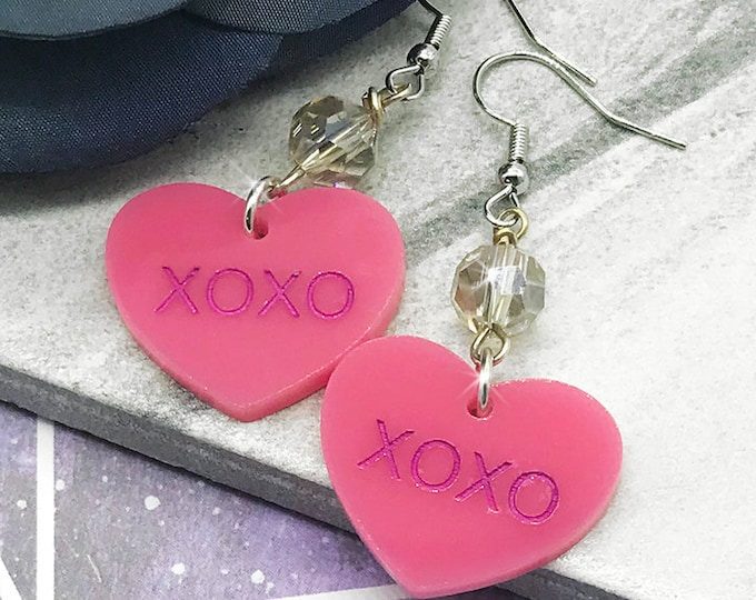 XOXO - conversation heart dangle earrings with crystals, pink, hand painted, laser cut acrylic, Valentines Day, candy, cute