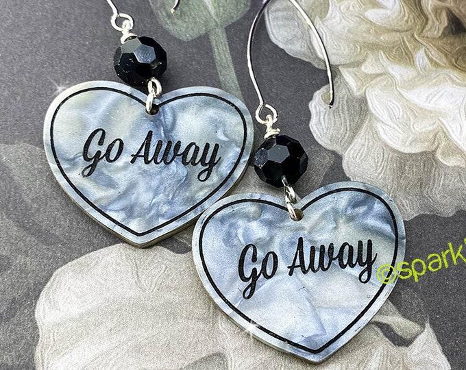 Go Away - gray pearl earrings