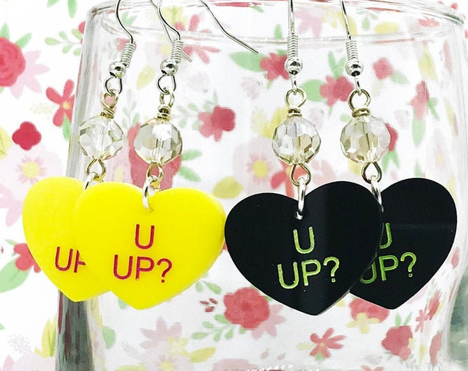 U UP? - conversation heart dangle earrings with crystals, yellow, black, hand painted, laser cut acrylic, Valentines Day, candy, funny