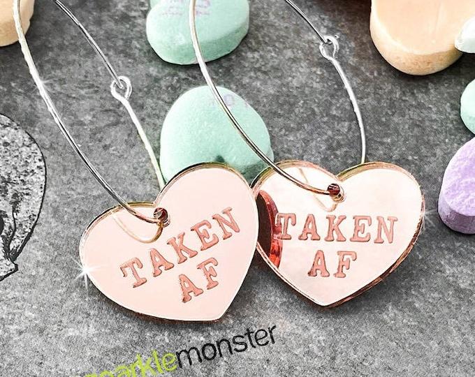 TAKEN AF Hoop Earrings - rose gold hearts