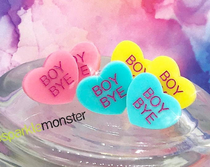 BOY BYE - conversation heart stud earrings, pink, blue, post, hand painted, pastel, laser cut acrylic, Valentines Day, candy heart