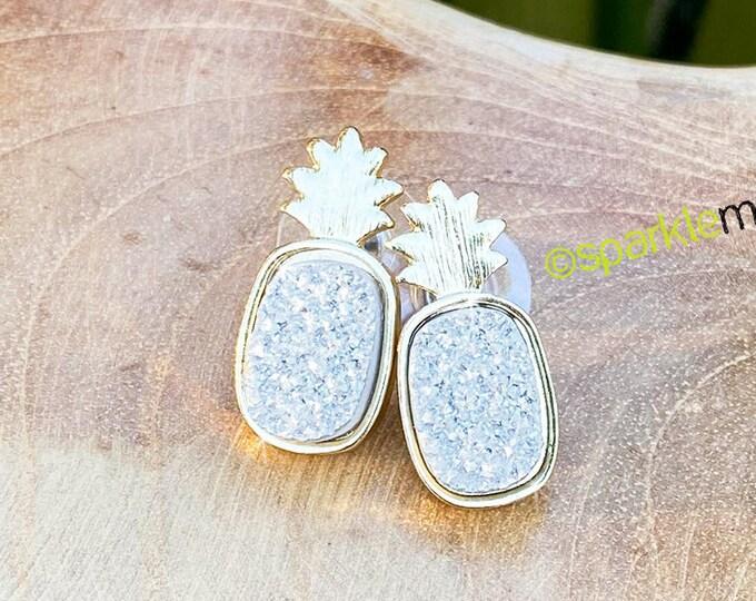 Silver Druzy Pineapple stud earrings