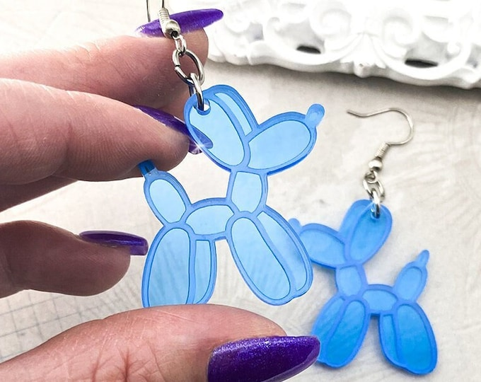 Balloon Dog Earrings - clear blue laser cut acrylic