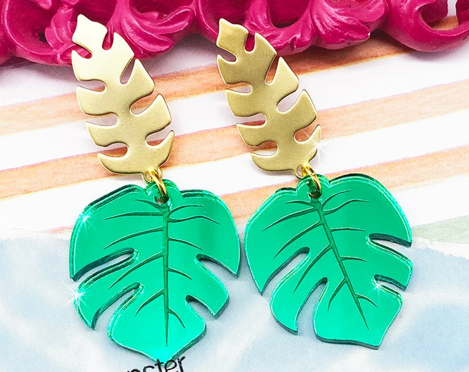 Glam Monstera Leaves - gold post earrings, green mirror, laser cut acrylic, charms, tiki, pinup girl, summer fashion, tropical, vacation