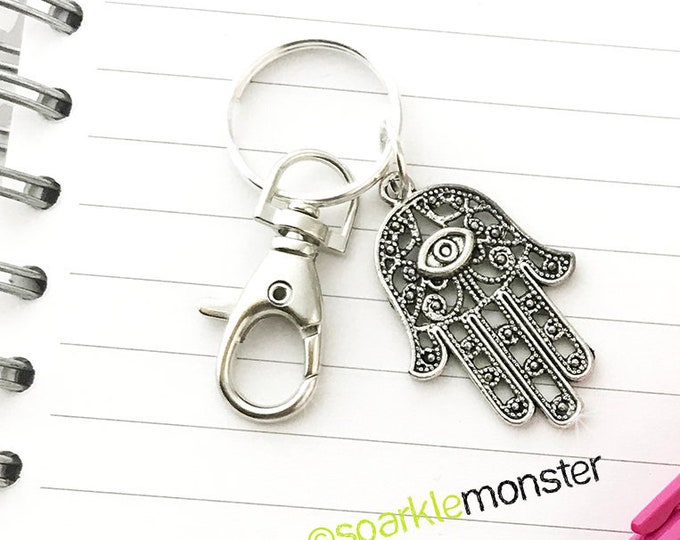 Hamsa Hand - large silver keychain, swivel lobster claw, filigree, Bohemian, purse charm, planner charm