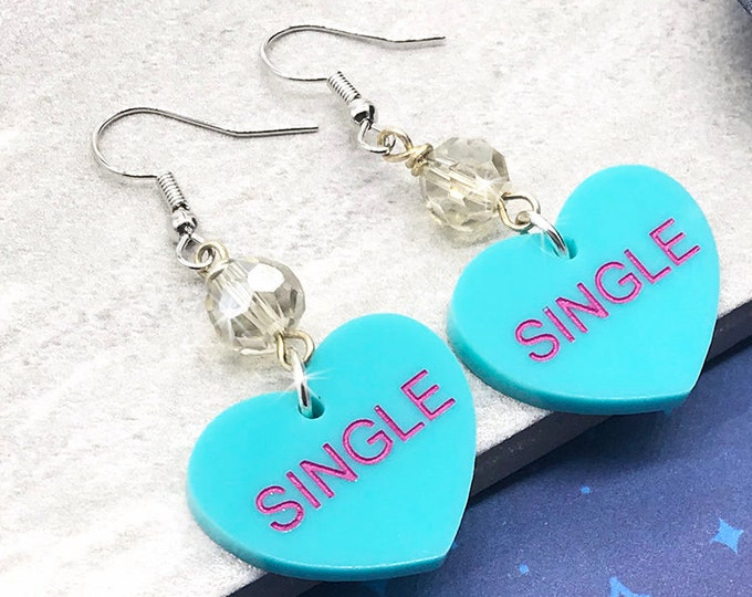 SINGLE - conversation heart dangle earrings with crystals, turquoise, hand painted, laser cut acrylic, Valentines Day, candy, funny