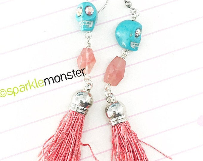 Lucky Last! Turquoise Skulls Long Tassel Earrings - howlite, skulls, quartz beads, coral pink tassels, dangle earrings