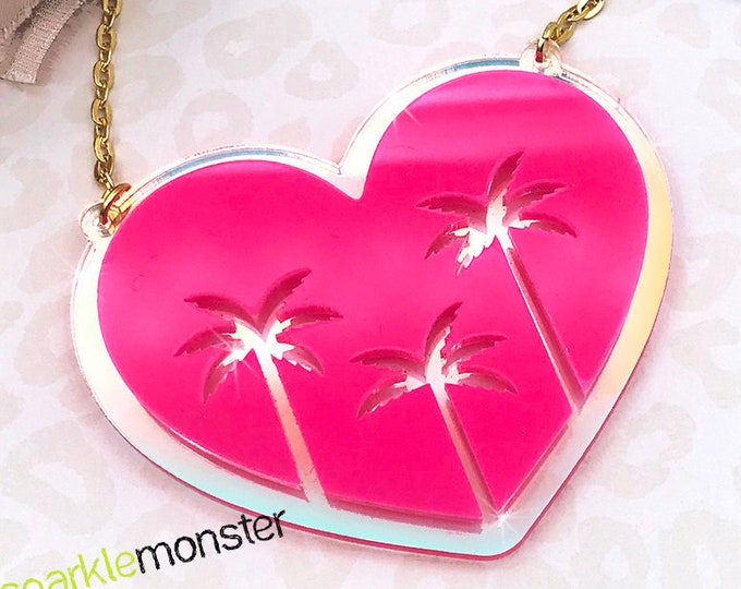 SALE Summer Love laser cut acrylic necklace, bright pink on iridescent, palm trees, heart, tropical, SoCal