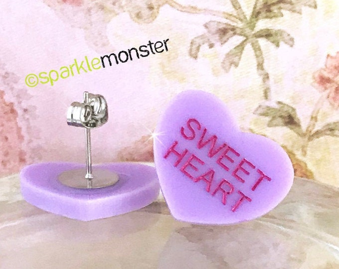 SWEET HEART - conversation heart stud earrings, lavender, post, hand painted, pastel, laser cut acrylic, Valentines Day, candy heart
