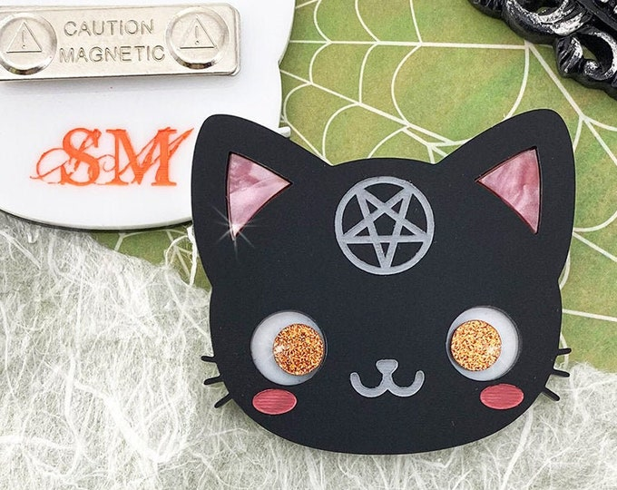 Black Cat Magic - laser cut acrylic brooch, magnetic back, matte black, pentagram, horror, kitsch, witchy, wiccan, kitty