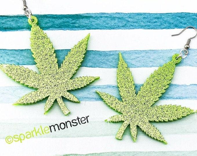 Large Pot Leaf Earrings - laser cut acrylic, light green glitter, cannabis, marijuana, dispensary, smoke