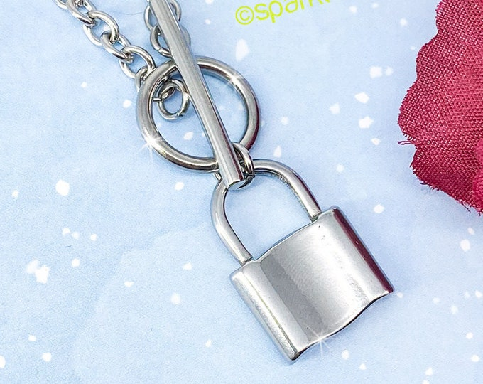 Lockdown - silver layering necklace, small lock charm, bohemian, hippie, rocker, alt fashion